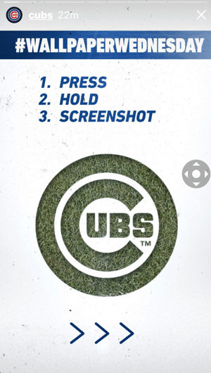 How to improve instagram story engagement, deliver content for screenshots, example 1 of Cubs wallpapers