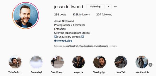 Jessie Driftwood's Instagram profile.