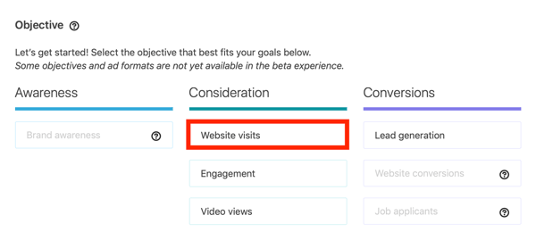 How to create LinkedIn objective-based dynamic ad, step 1, Website visits campaign objective