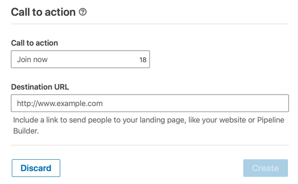 How to create LinkedIn objective-based dynamic ad, step 4, set call-to-action and destination url