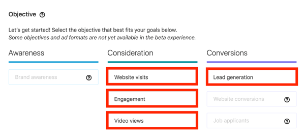 How to create LinkedIn lead generation carousel ad, step 1, campaign objective options