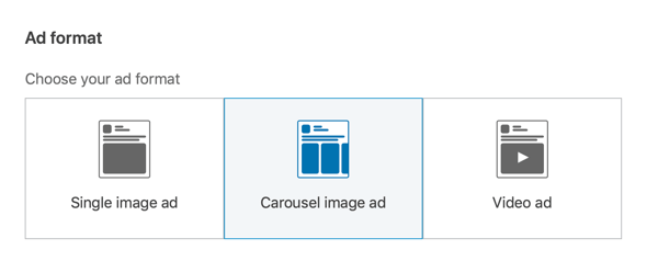 How to create LinkedIn lead generation carousel ad, step 2, set carousel ad format