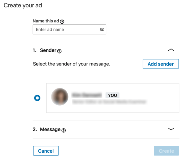 How to create LinkedIn objective-based sponsored InMail ad, step 3, set ad name and sender