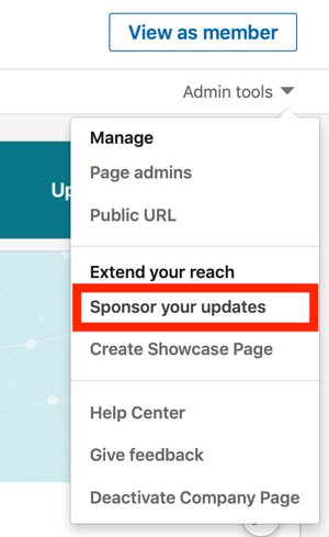 How to create LinkedIn text ad, step 1, Sponsor your updates under Admin tools