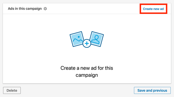 How to create LinkedIn text ad, step 11, create new ad