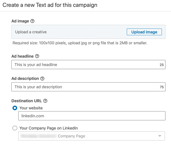 How to create LinkedIn text ad, step 12, ad text settings