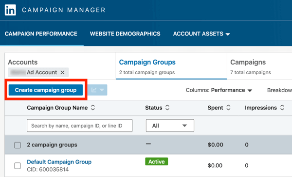 How to create LinkedIn text ad, step 2, Create campaign groups