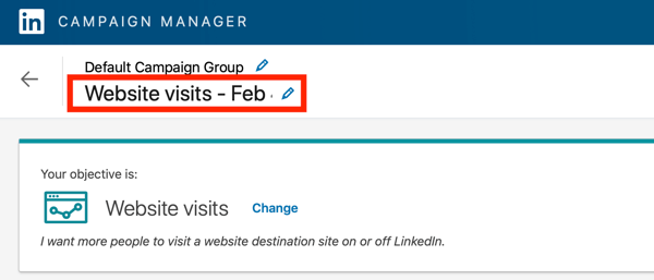 How to create LinkedIn text ad, step 5, Name your campaign