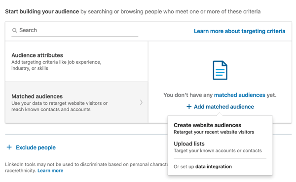 How to create LinkedIn text ad, step 6, Start building your audience, matched audiences option