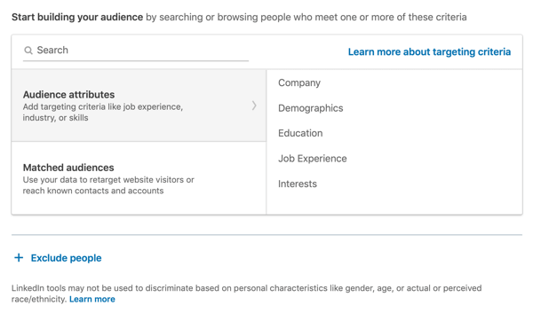 How to create LinkedIn text ad, step 7, Start building your audience, audience attributes option