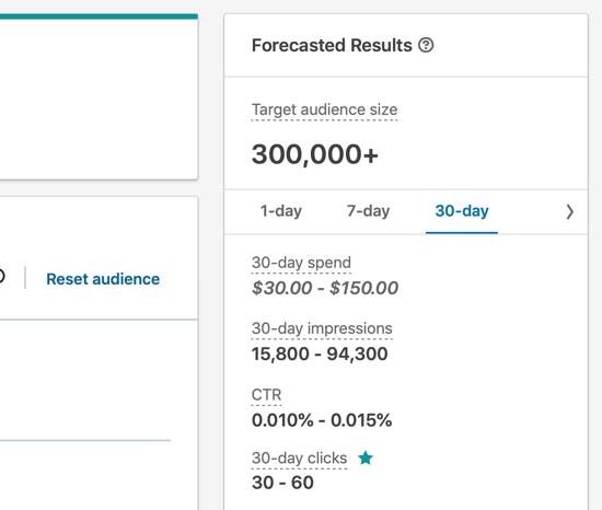 How to create LinkedIn text ad, step 8, campaign audience reach Forecasted Results
