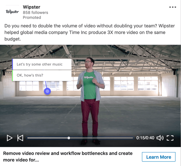 How to create LinkedIn objective-based ads, sponsored video ad sample by Wipster