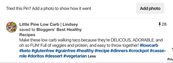 Tips on how to improve your Pinterest reach, example 5, Little Pine Low Carb Pinterest post with hashtags example