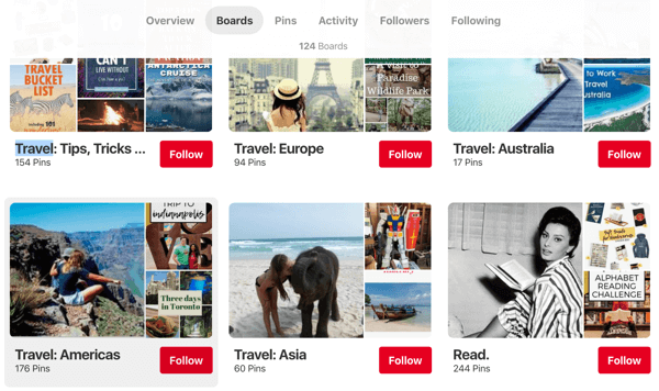 Tips on how to improve your Pinterest reach, example 1, Endless Bliss travel advice Pinterest boards organized region