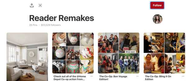 Tips on how to improve your Pinterest reach, example 2, Brit + Co. reader party remakes Pinterest board