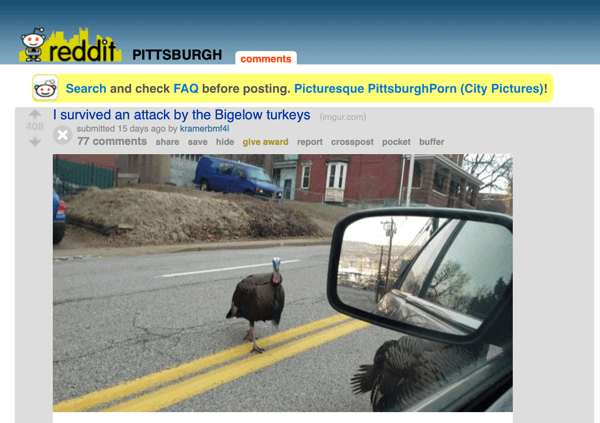 How to market your business on Reddit, example post from subreddit r/Pittsburgh