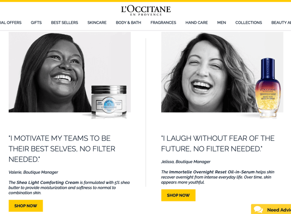How to recruit paid social influencers, example of Instagram influencer posts from the L'Occitane en Provence no filter needed campaign