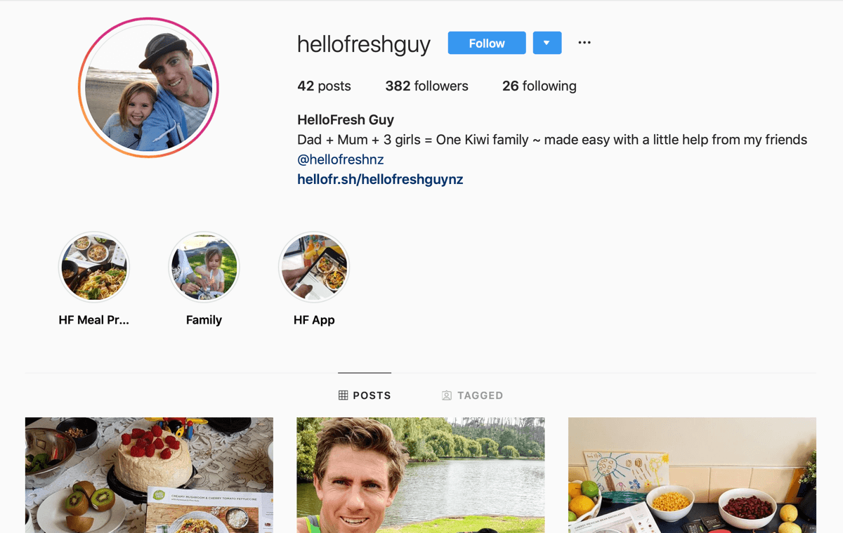 How to recruit paid social influencers, example of Instagram feed from @hellofreshguy