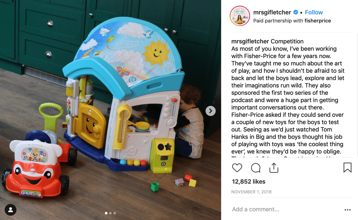 How to recruit paid social influencers, example of Instagram post for @fisherprice by @mrsgifletcher