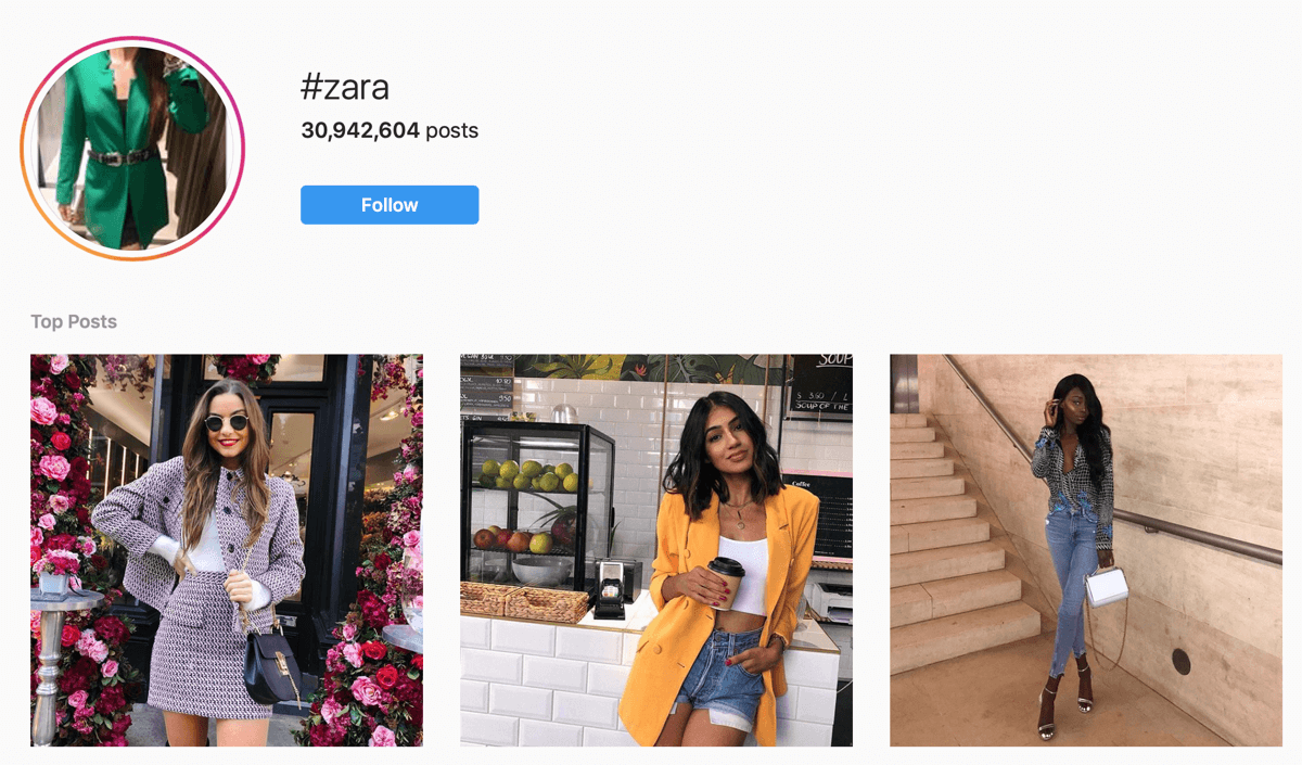 How to recruit paid social influencers, example of Instagram influencer posts for #zara