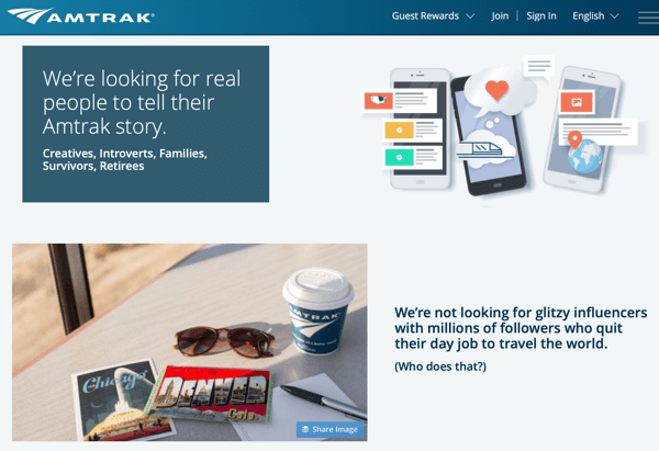 How to recruit paid social influencers, example of Amtrak social media residency program