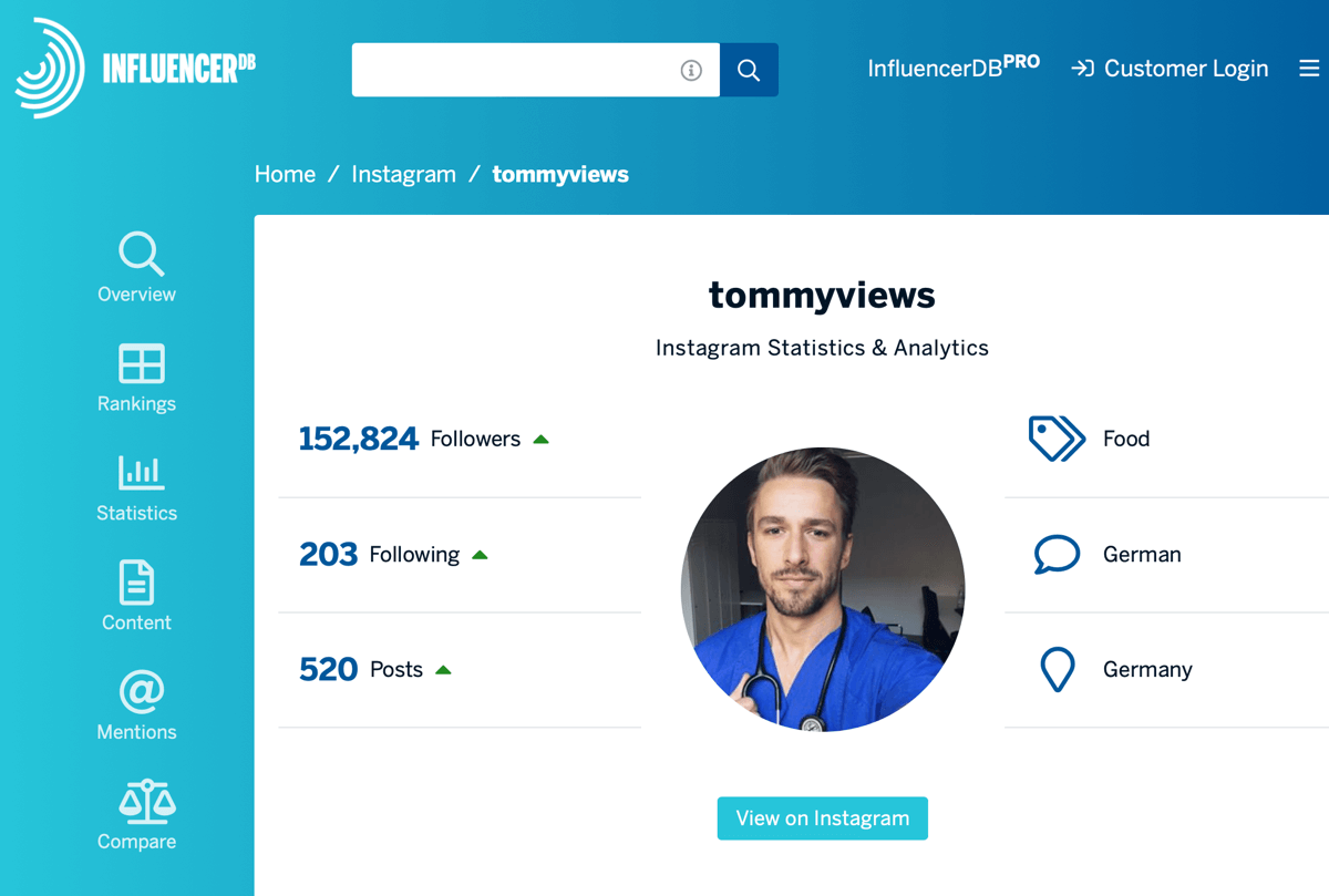 How to recruit paid social influencers, example of InfluencerDB profile for tommyviews