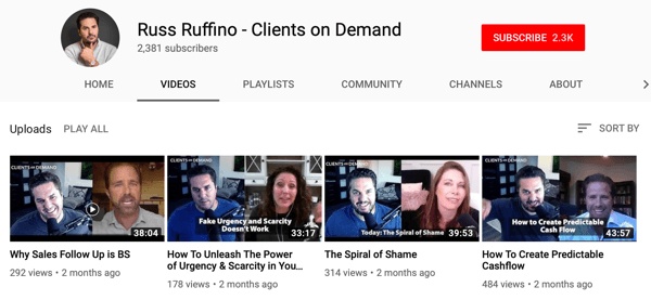 Ways for B2B businesses to use online video, Russ Ruffino sample YouTube channel of interview videos
