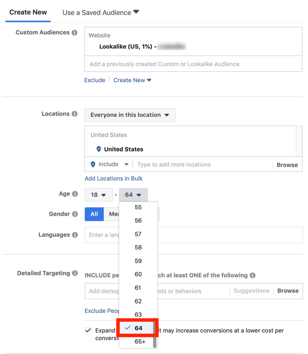 Tips to lower your Facebook Ad costs, option to narrow audience by age
