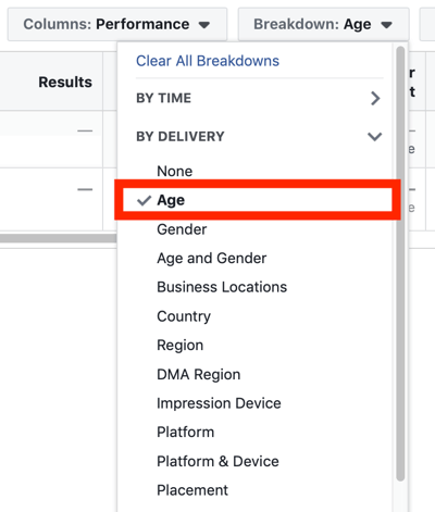 Tips to lower your Facebook Ad costs, option to view audience breakdown by age