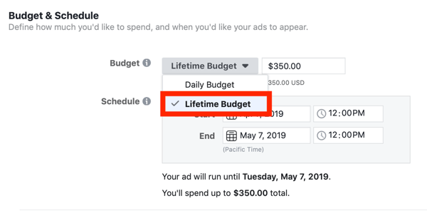 Tips to lower your Facebook Ad costs, option to set campaign budget to lifetime budget