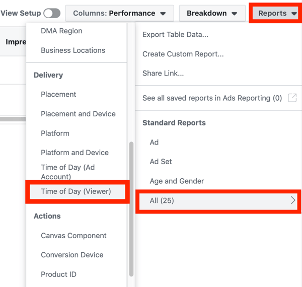 Tips to lower your Facebook Ad costs, option to view Time of Day (Viewer) from the Reports drop-down menu in Facebook Ads dashboard