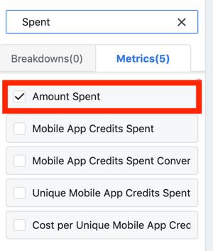 Kiat untuk menurunkan biaya Iklan Facebook Anda, opsi untuk melihat jumlah yang dihabiskan sebagai bagian dari laporan Anda