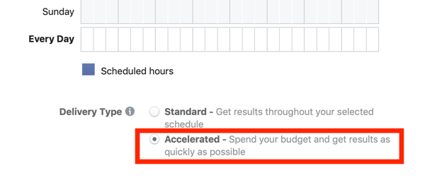 Tips to lower your Facebook Ad costs, option to select accelerated delivery for your campaign