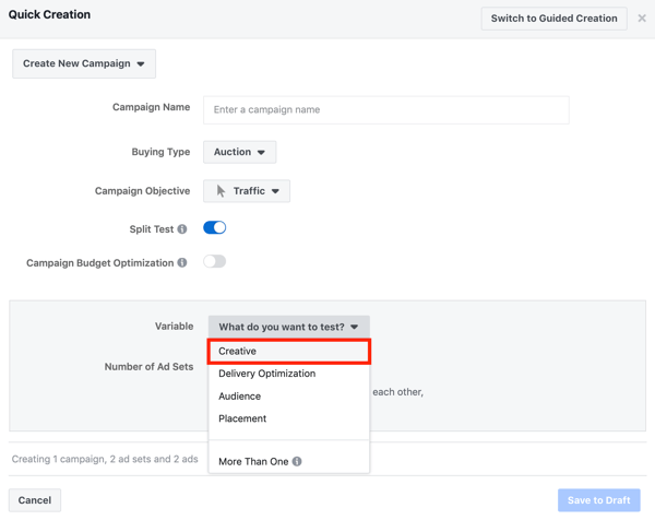 Facebook ad techniques that deliver results, split-test creative setting for Facebook Ad campaign