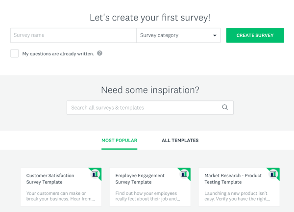 Facebook ad techniques that deliver results, options to create a Survey Monkey survey