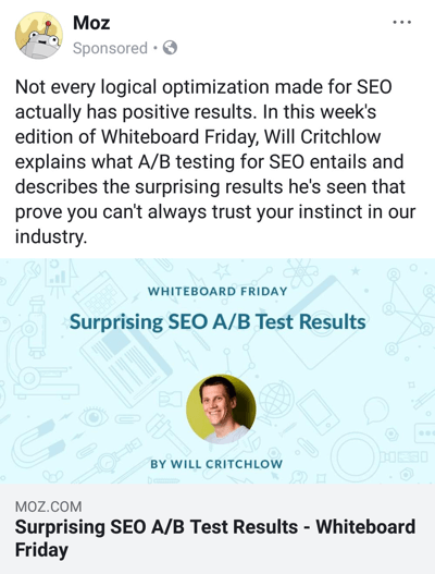 Facebook ad techniques that deliver results, example by Moz offering branded research content