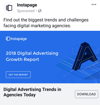 Facebook ad techniques that deliver results, example by Instapage offering case study