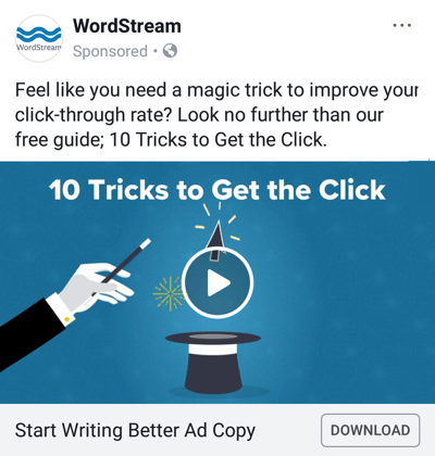 Facebook ad techniques that deliver results, example by WordStream offering a free guide