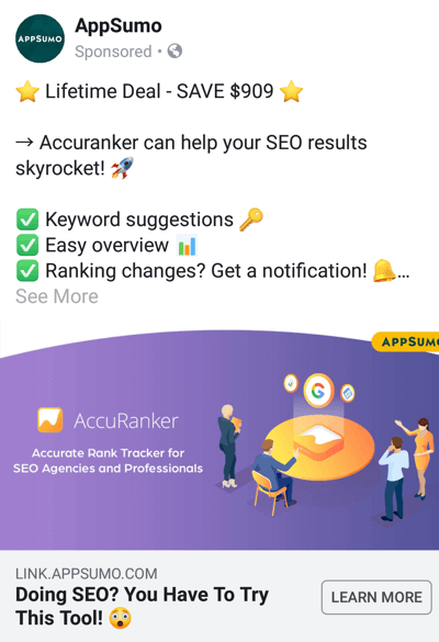 Facebook ad techniques that deliver results, example by AppSumo offering a deal