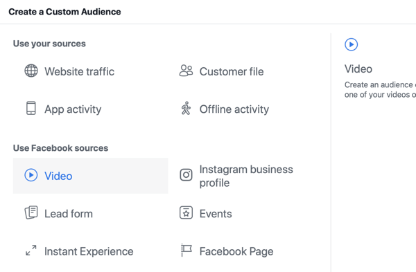 How to promote your live event on Facebook, step 8, create custom audience in Facebook Ads Manager based on video views
