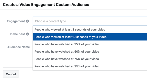 How to promote your live event on Facebook, step 9, create a video engagement campaign of people who watched at least 10 seconds of your video