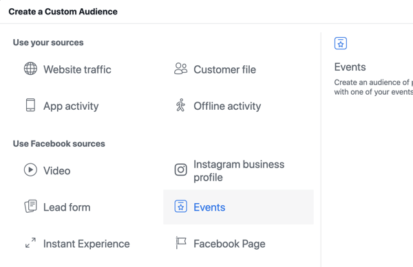 How to promote your live event on Facebook, step10, create custom audience in Facebook Ads Manager based on event page views