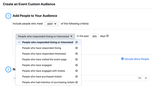 How to promote your live event on Facebook, step 11, create an event custom audience of people who responded going or interested to your event