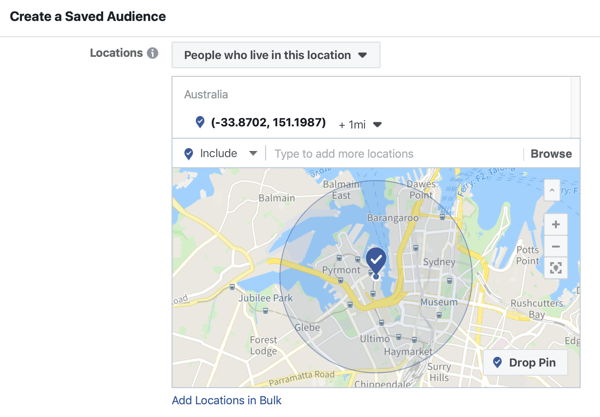 How to promote your live event on Facebook, step 5, option to create a saved audience based on event location