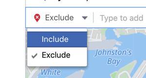 How to promote your live event on Facebook, step 6, option to further narrow your saved location audience with exclusion areas