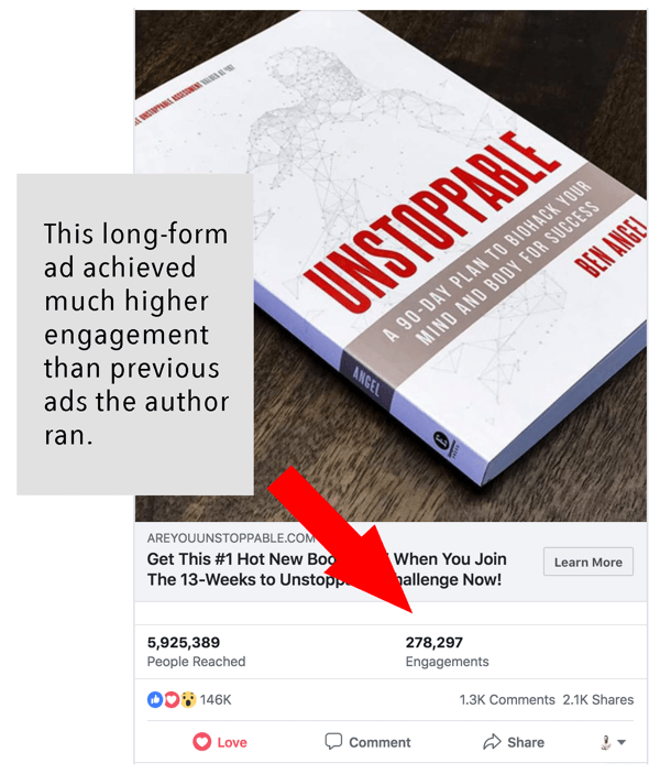 How to write and structure longer-form text-based Facebook sponsored posts, example by AreYouUnstoppable.com with engagement information