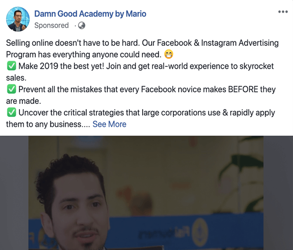 How to write and structure longer-form text-based Facebook sponsored posts, type 1 problem and solution, example by Damn Good Academy by Mario