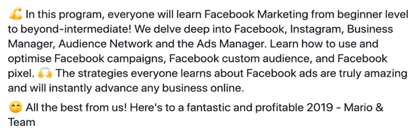 How to write and structure longer-form text-based Facebook sponsored posts, step 6, program features statement example by Damn Good Academy by Mario
