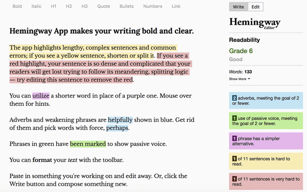 How to write and structure longer-form text-based Facebook sponsored posts, best practices, Hemingway App