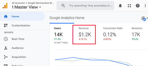 Google Analytics Home screen revenue tip